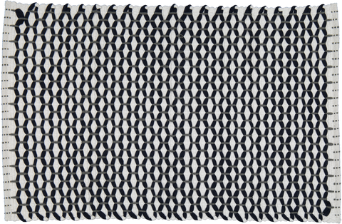 "Bathmat lattice weave White with a Navy ""Lattice"""