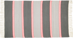 Plush rug option 2 Charcoal and Grey with coral stripes