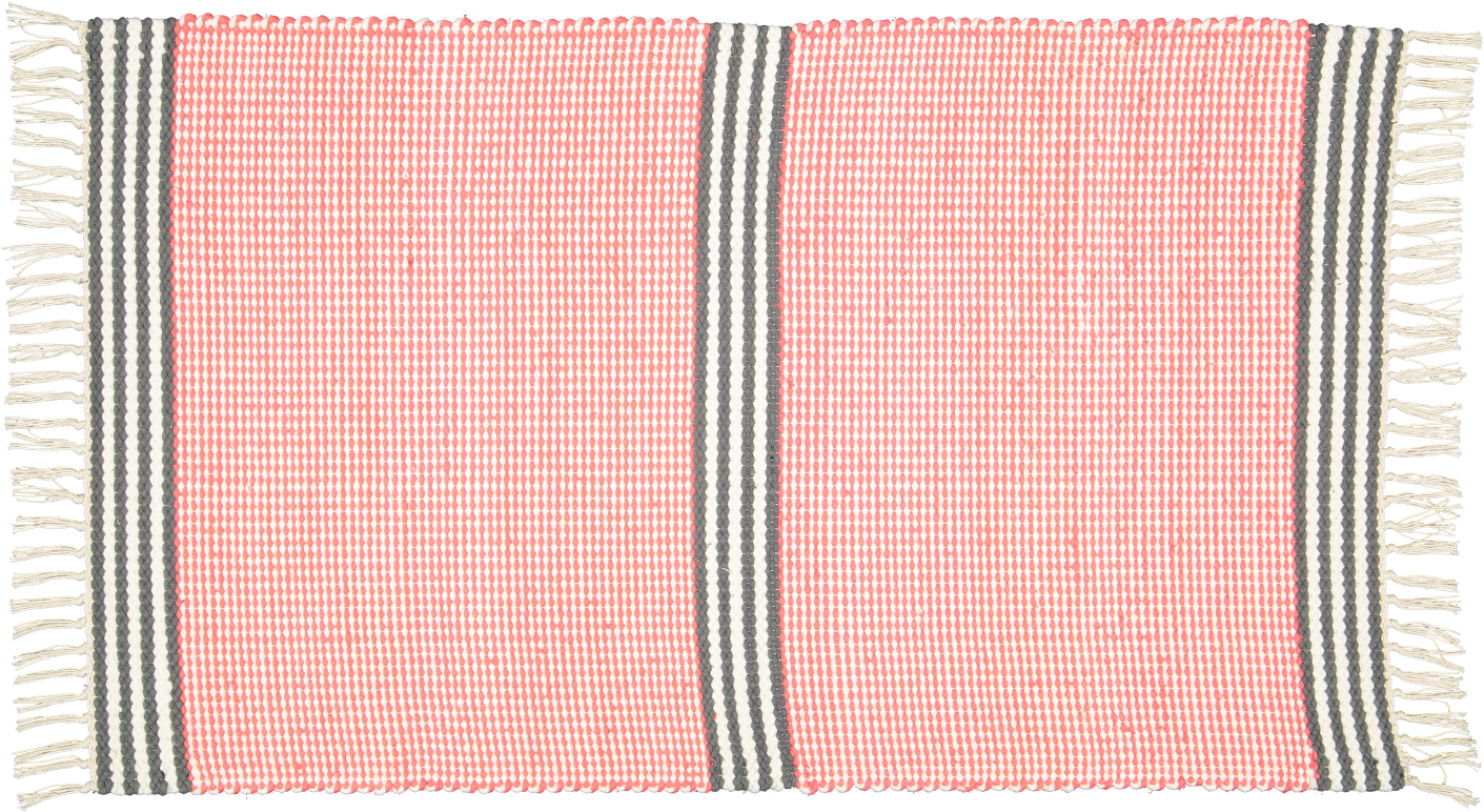 Plush rug option 3 Coral and natural with black and white stripes