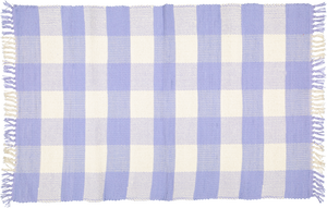 Dhurrie tabby Natural and Perriwinkle Blue checks