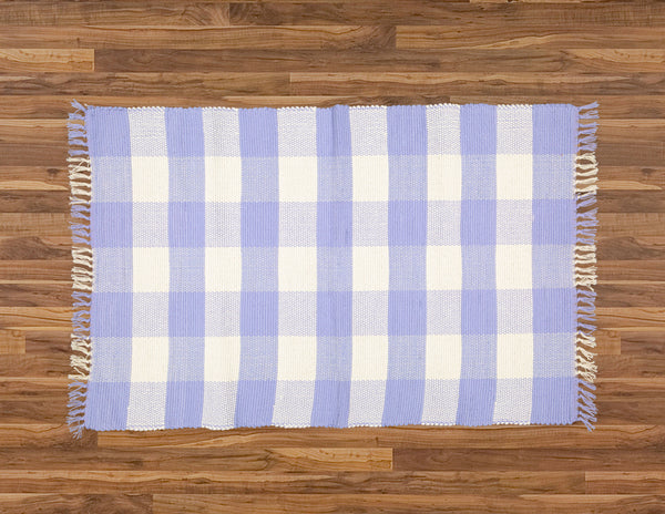 Dhurrie Tabby Natural and Perriwinkle Blue Checks - Amelia Jackson Industries South Africa