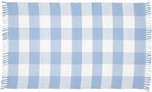 Dhurrie tabby Sky Blue and white checks