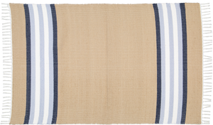 Cotton dhurrie Dark stone with Blue stripe
