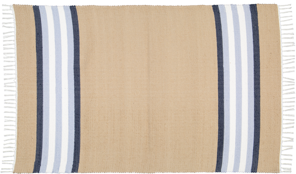 Cotton Dhurrie Dark Stone with Blue Stripes - Amelia Jackson Industries South Africa