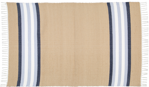 Handwoven cotton rug in Dark stone with blue and white stripes