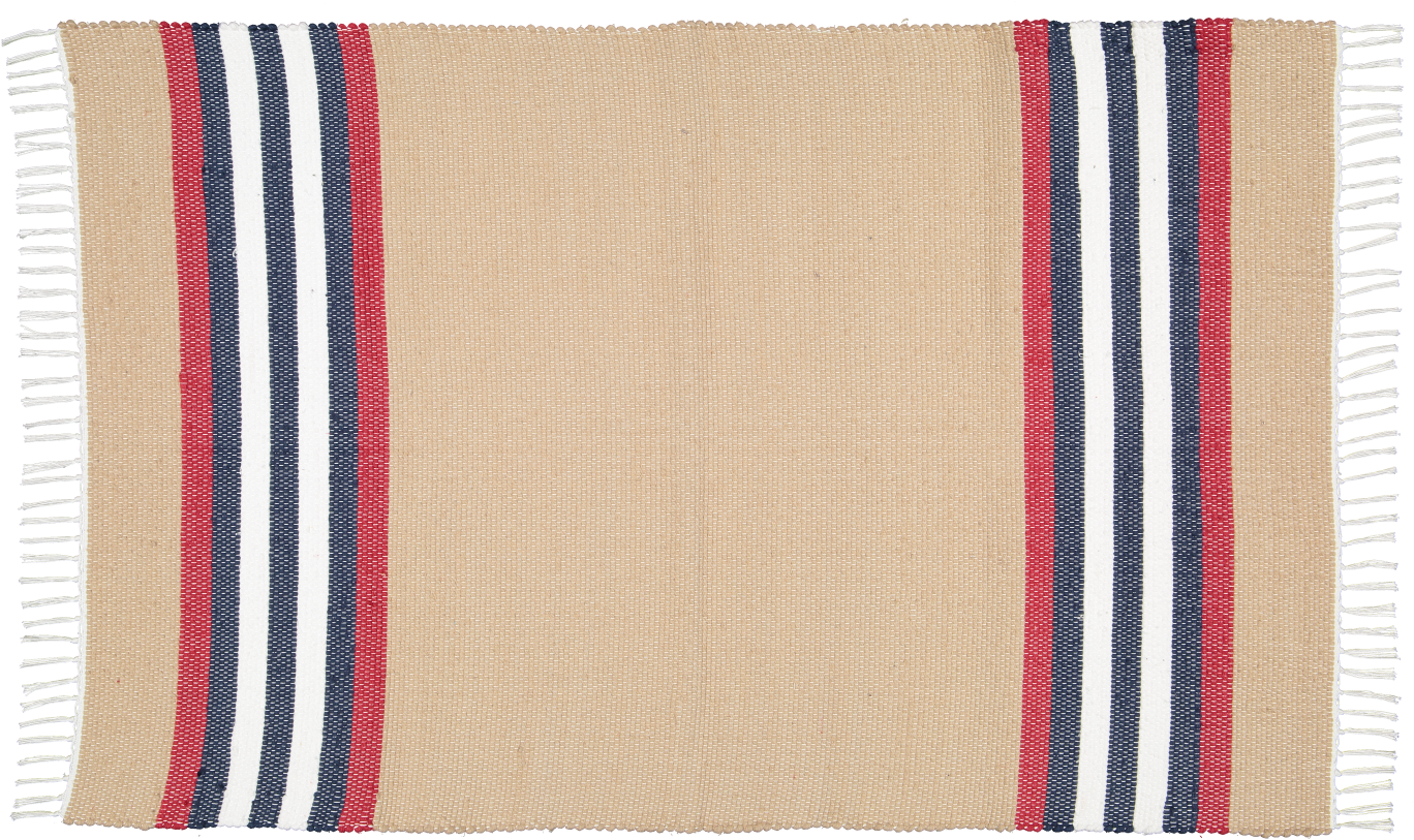 Cotton dhurrie Dark stone with Red stripe
