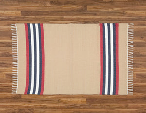 Cotton Dhurrie Dark Stone with Red stripes - Amelia Jackson Industries South Africa