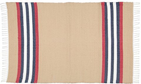 Hand woven cotton rugs in Dark stone with Navy Red and white stripes