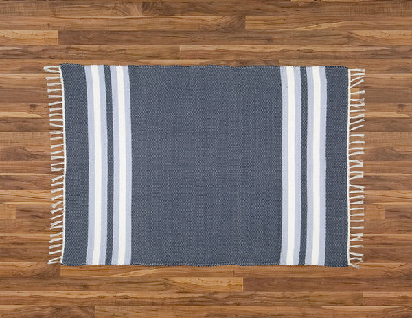 Cotton Dhurrie Navy with Blue and White Stripes - Amelia Jackson Industries South Africa