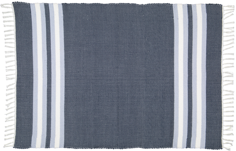 Hand woven cotton rug in Navy with Blue and White stripes