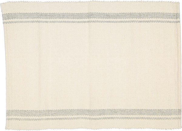 Cotton Dhurrie Tabby Natural with Charcoal Stripes - Amelia Jackson Industries South Africa