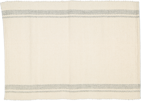 Cotton Dhurrie Tabby Natural with Charcoal stripes