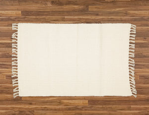 Cotton Dhurrie Rug Woven in a Hopsack Pattern, Natural. - Amelia Jackson Industries South Africa