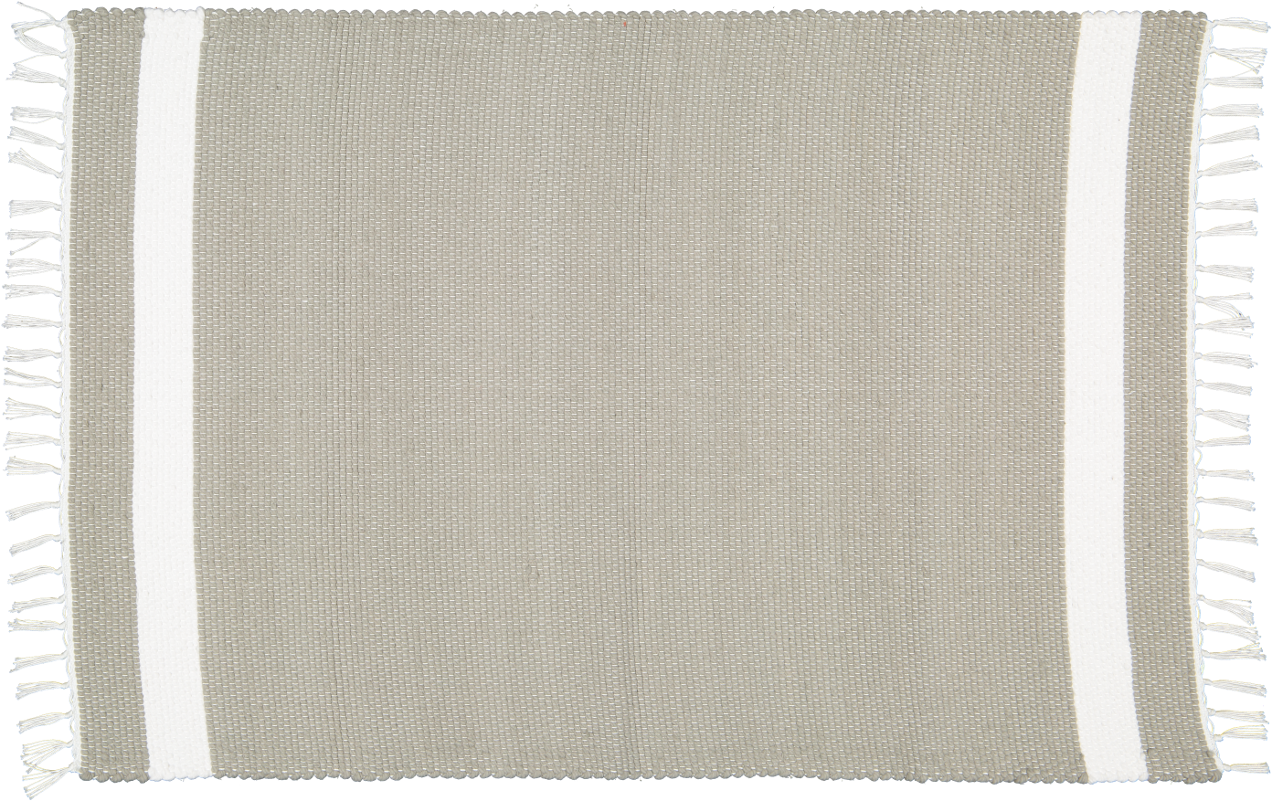 Cotton Dhurrie Tabby in Grey with White band