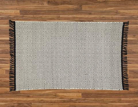 Cotton Dhurrie Natural Diamond Pattern on a Black Warp - Amelia Jackson Industries South Africa