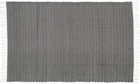 Hand woven cotton rugs in Charcoal, woven with a Twill pattern