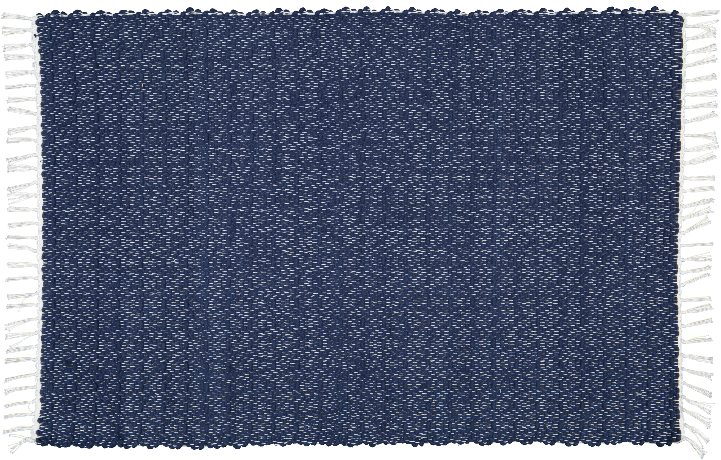 Hand woven cotton rugs in Navy woven with a Twill pattern