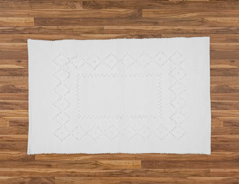 Rag Rug with Diamond Pattern, White. - Amelia Jackson Industries South Africa