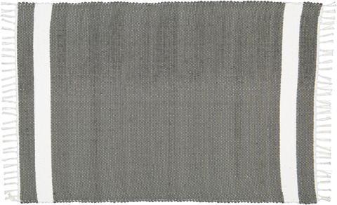Hand woven cotton rug in Charcoal with White stripe