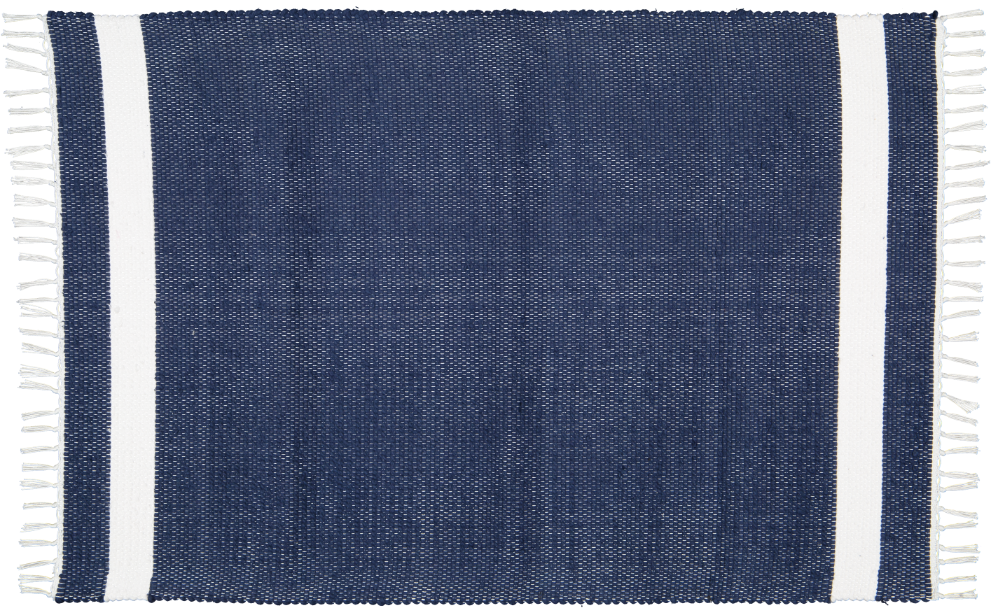 Cotton Dhurrie Tabby in Navy with white band
