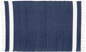 Hand woven cotton rug in Navy with White stripe