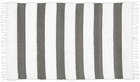 Dhurrie and Fluffy bands Charcoal and White rug