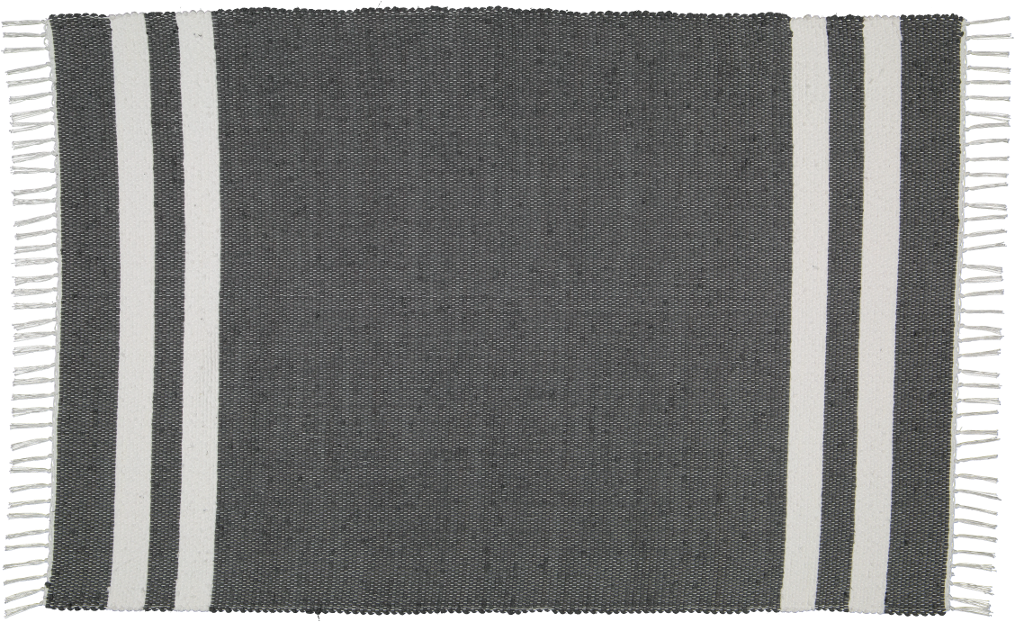 Hand woven cotton rug in Charcoal with white stripes