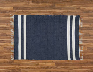 Cotton Dhurrie Navy with 2 White Stripes - Amelia Jackson Industries South Africa