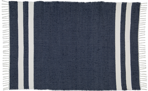 Hand woven cotton rug in Navy with White stripes
