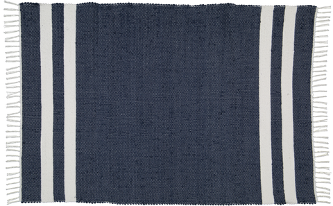 Cotton dhurrie Navy with 2 White stripes
