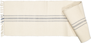 Table runner, natural with Navy stripe