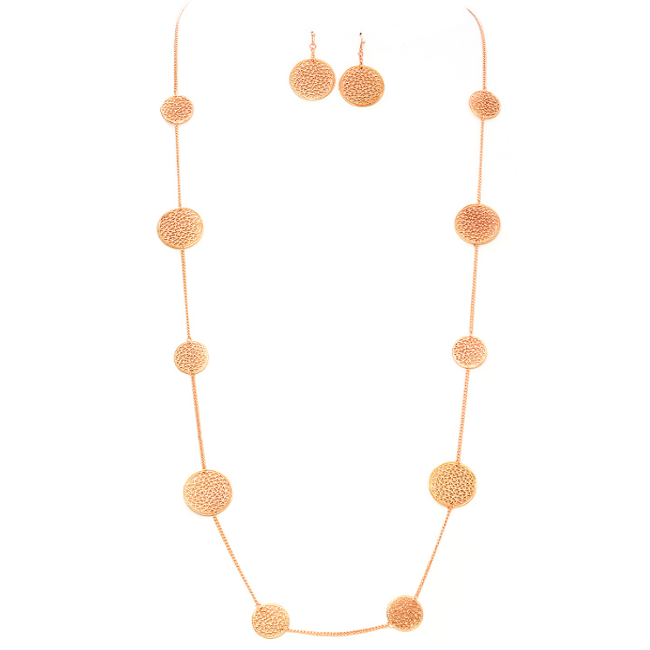 Rose Gold Necklace Set Adorned with Round Filigree Stations