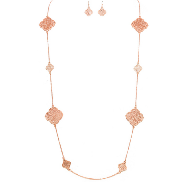Rose Gold Floral Filigree Necklace Set