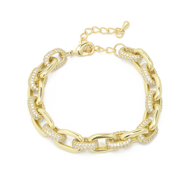 Gold Cubic Zirconia Linked Chain Bracelet