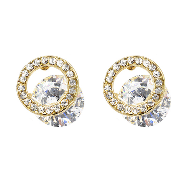 Gold Cubic Zirconia Circle Studded Outline Post Earrings