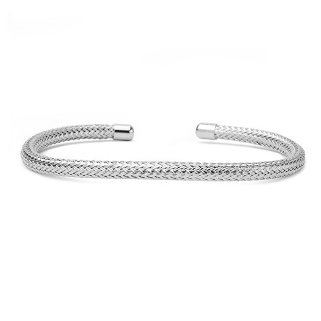 Silver Cable Open Cuff Bracelet