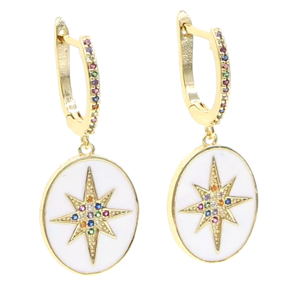 Gold Cubic Zirconia Starburst Dangle Earrings