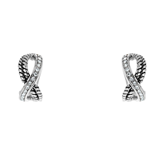 Two Tone Cubic Zirconia X Shaped Post Earrings