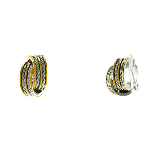 Two Tone Clip On Earrings