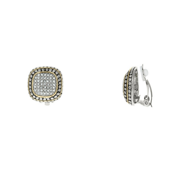 Two Tone Cubic Zirconia Pave Clip On Earrings