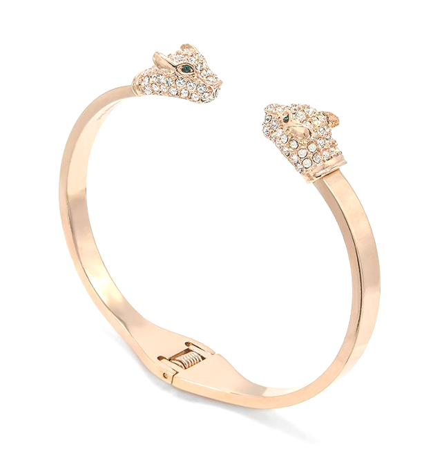 Stainless Steel Rose Gold Cubic Zirconia Jaguar Open Cuff Bracelet