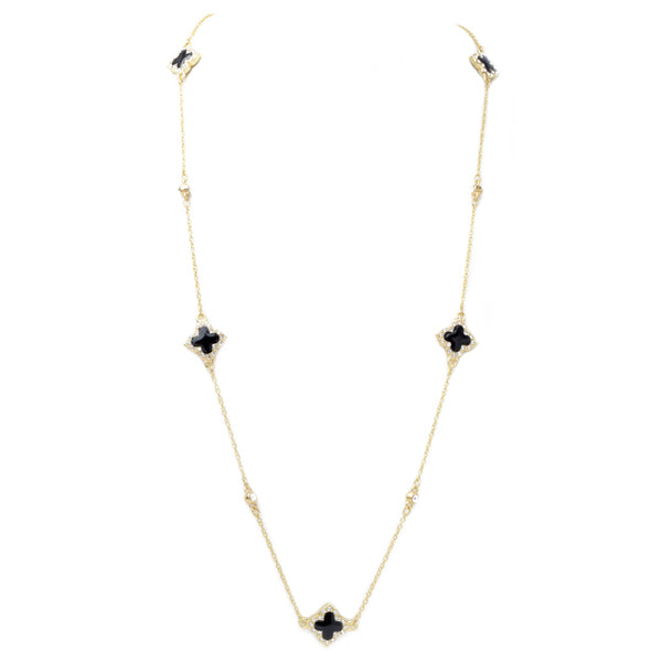 Gold & Black Onyx Cubic Zirconia Clover Necklace