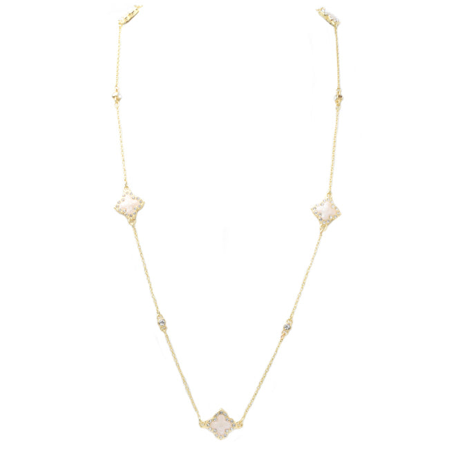 Gold & Mother of Pearl Cubic Zirconia Clover Necklace