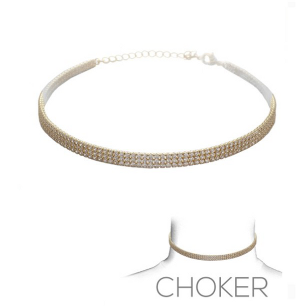 Gold Elegant Cubic Zirconia Choker Necklace