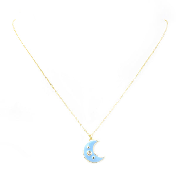 Sterling Silver Gold Plated Cubic Zirconia Moon Pendant Necklace