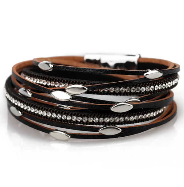 Black Leather Wrap Magnetic Bracelet with Crystals