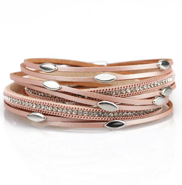 Pink Leather Wrap Magnetic Bracelet with Crystals