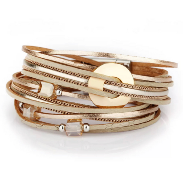 Beige Leather Wrap Magnetic Bracelet with Beads