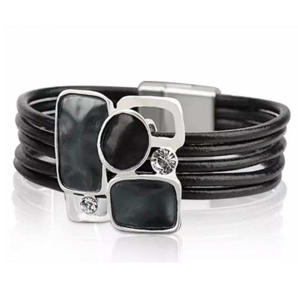 Black Leather Magnetic Bracelet with Crystals