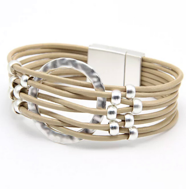 Beige Leather Magnetic Bracelet with Brushed Beads